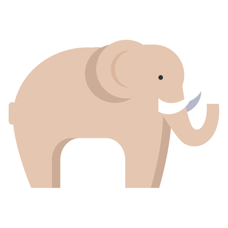 Elephant in Beige Color Isolated on White