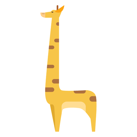 Graphic Giraffe in Colors Isolated on White Illustration
