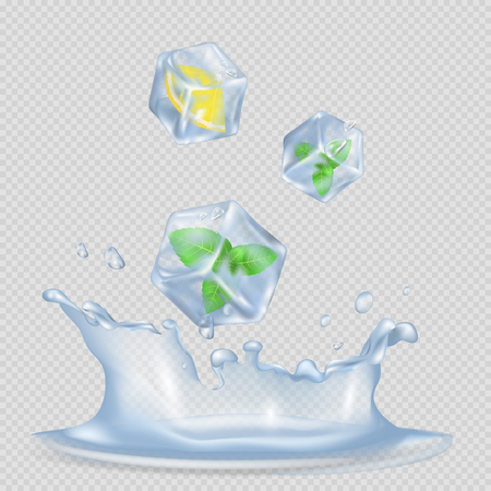 Ice Cubes with Mint Leaves and Lemon Illustration