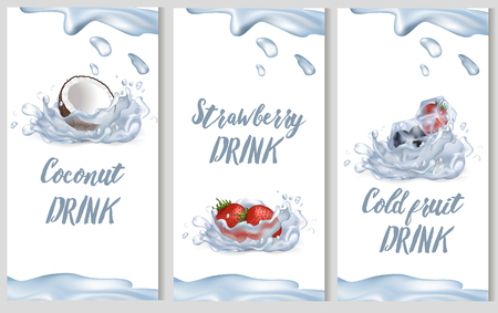 Coconut, Sweet Strawberry and Cold Fruit Drinks