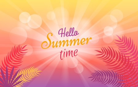 Hello Summer Time Poster with Tropical Trees