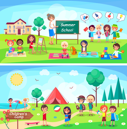 Summer School and Childrens Camp Illustrations Vectores