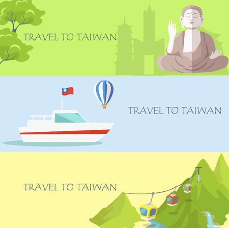 Travel to Taiwan Colorful Banner with Attractions