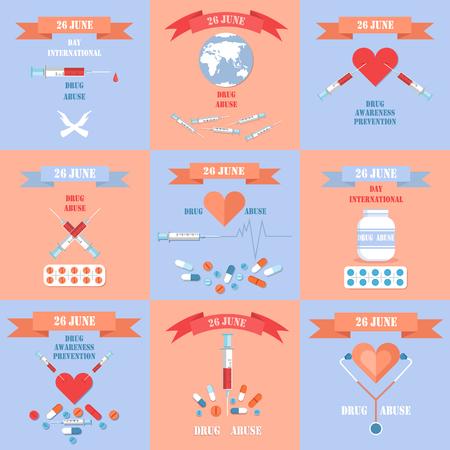 International Day Against Drug Abuse Posters Set Ilustração