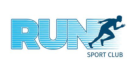 Running Sportsman on White Background. Sport Club