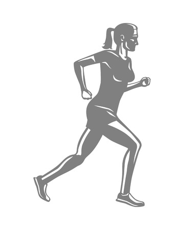 Silhouette of Sportive Running Woman on White Illustration
