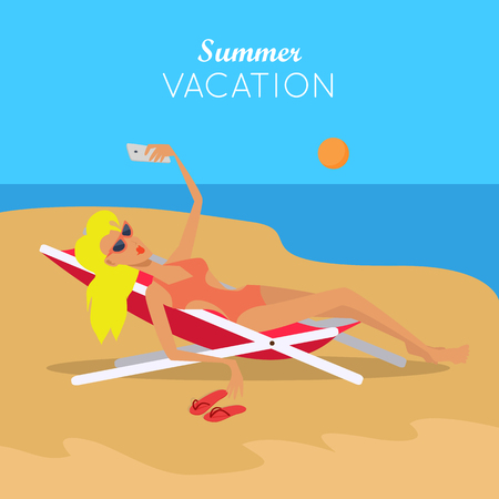 Summer Vacation. Woman in Sexy Bikini. Vector Çizim
