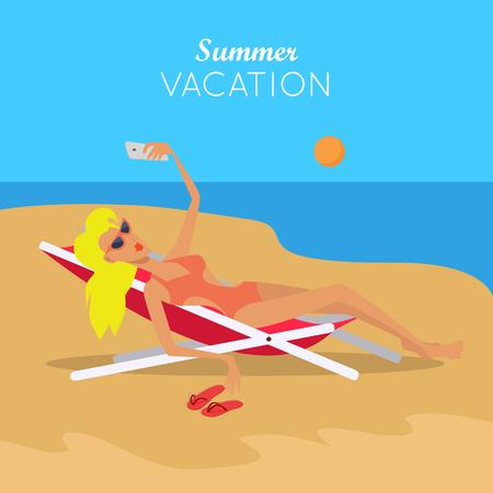 Summer Vacation. Woman in Sexy Bikini. Vector Ilustração