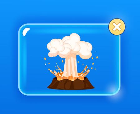 화산 위로 용암, 뜨거운 증기의 강력한 폭발