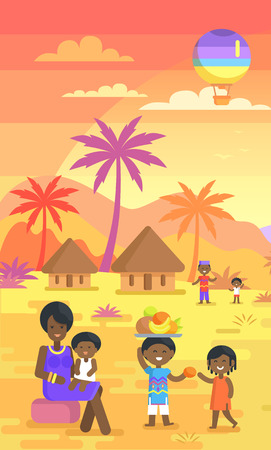 African Family Spending Time Outdoors on Yard