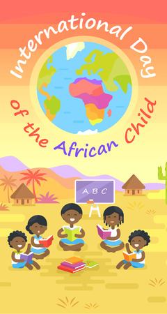 International day of African child colorful poster with happy kids sitting in circle and reading books on fresh air.
