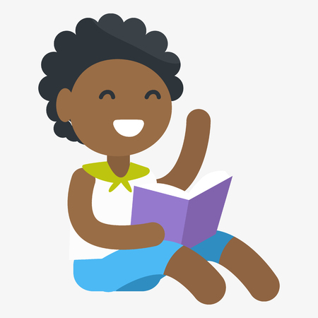 child sitting: Enthusiastic African female child holding book in one hand. Vector graphic illustration of small girl getting information Illustration