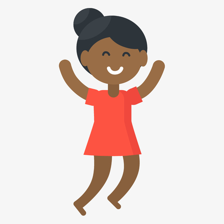 Smiling jumping girl isolated vector illustration on white background. Afro-american kid celebrates international day of the african child