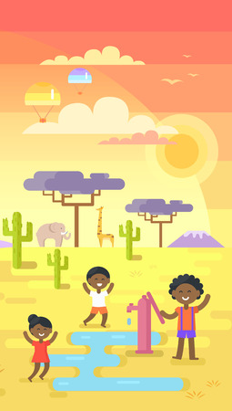 African children playing near water near tap under hot sun on area with many exotic plants vector illustration in flat design, drink waters in desert Illustration