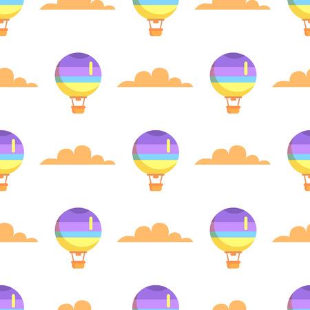 熱気球飛行空のシームレスなパターンの白い背景で隔離のバスケット。ロマンチックな輸送手段のベクトル イラスト