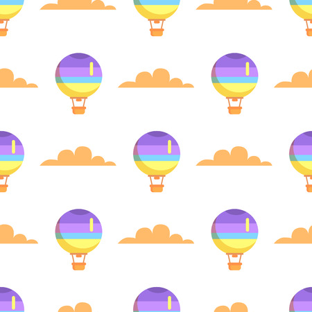 Hot air balloon with basket flying in sky seamless pattern isolated on white background. Vector illustration of romantic means of transport Иллюстрация