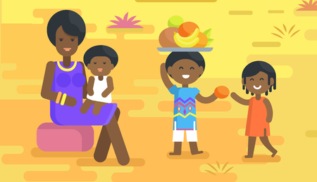 child sitting: African woman in violet dress and accessories sits with baby on lap and boy holds tray with fruits and gives orange to girl vector illustration.