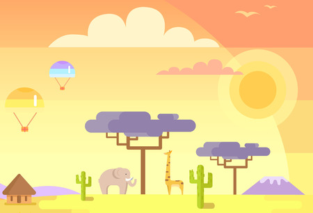 African landscape with tall trees, green cactuses, and parachutes in sky vector illustration. Ilustração