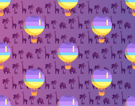 Hot air balloon with basket seamless pattern isolated on purple background with african plants and animals. Vector illustration of transportation means by air