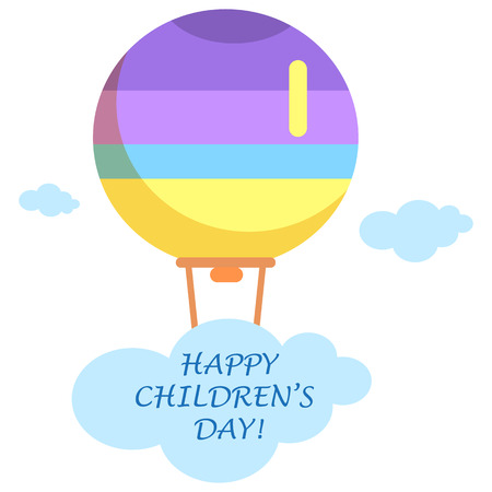 Happy Childrens Day poster with striped air balloon in sky among blue clouds and with sign isolated vector illustration on white background.