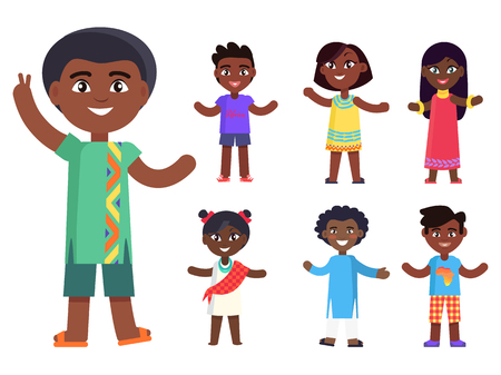 アニメ アフリカ系アメリカ人の少年が誰にでも作品を希望し、彼の友人は、ベクトル イラスト セットを分離しました。黒い肌に、友情の概念とは