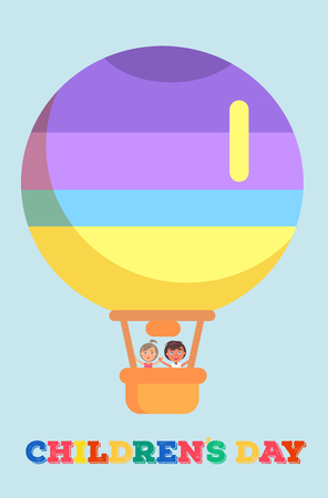 Childrens Day template vector poster with isolated colorful striped air balloon with boy and girl inside. Kids celebrating 1 June