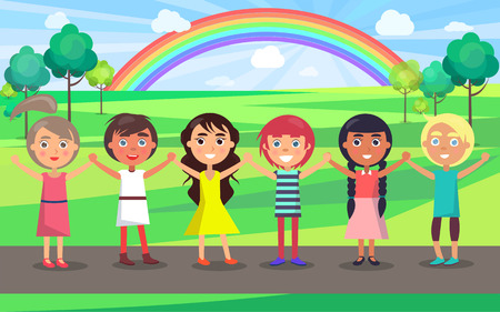 Kids with raised hands celebrate in June international children s day in park with green trees and colorful rainbow vector illustration. Illustration