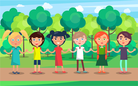 Children line with holding hands stand on park path with many green trees on background. Celebrating 1 June holiday vector illustration Illustration