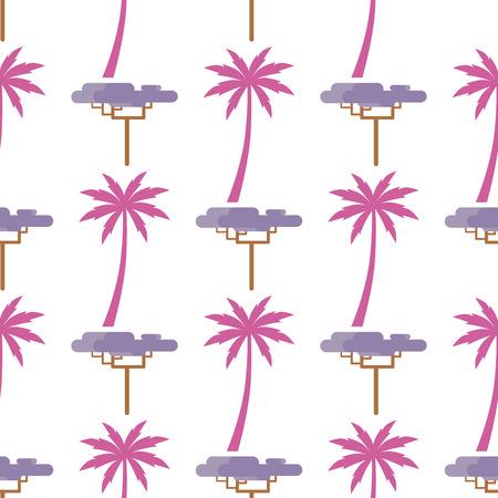 Roze palmsilhouet en grafische kleine exotische die baobabboom op wit naadloos patroon wordt geïsoleerd. Tropische planten vector eindeloze textuur