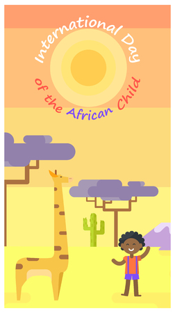 International Day of African Child poster with tall giraffe, little boy and baobab trees on background vector illustration. Ilustração