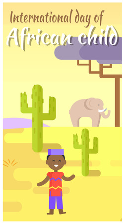 International African Child Day placard with boy in ethnic costume, green cactuses, big elephant and baobab tree vector illustration. Illusztráció