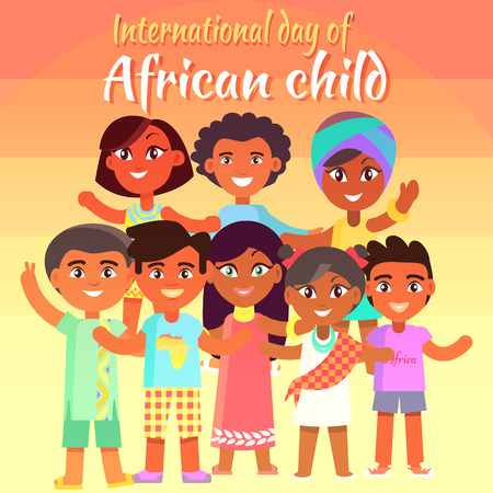 International Day of African Child poster with kids who stand in group and pose for picture isolated vector illustration. Ilustração