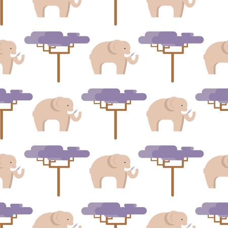 ベージュ色とバオバブ ツリー シームレス パターン白で隔離中の象。暑い国のベクトル図でフラットなデザインで大きな動物生活の側面図  イラスト・ベクター素材