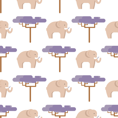 Elephant in beige color and baobab tree seamless pattern isolated on white. Side view of big animal living in hot countries vector illustration in flat design
