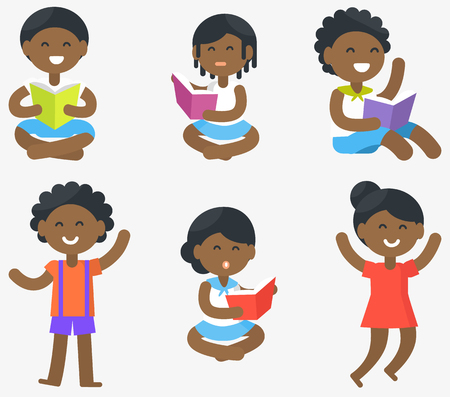 child sitting: African children sit and read books in bright covers and stands with smiles isolated vector illustrations set on white background.