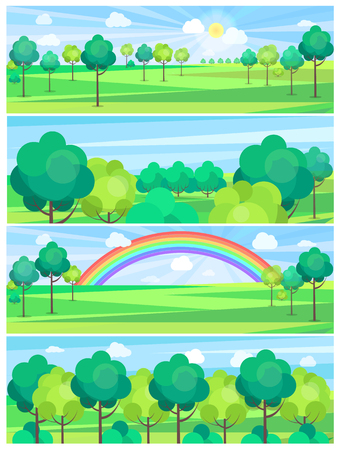 Park in summertime and nice weather condition with shining sun or rainbow vector colorful poster Иллюстрация