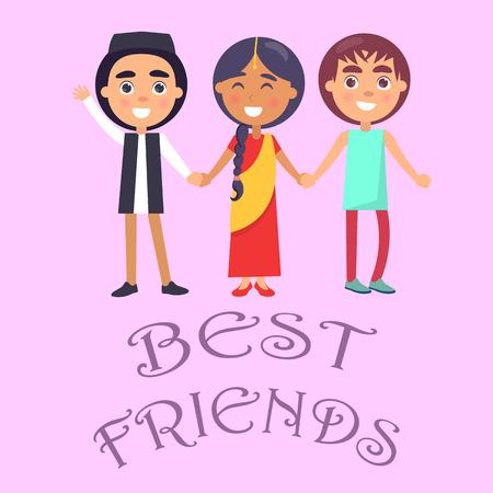 Best friends design for international holiday for children poster Illustration