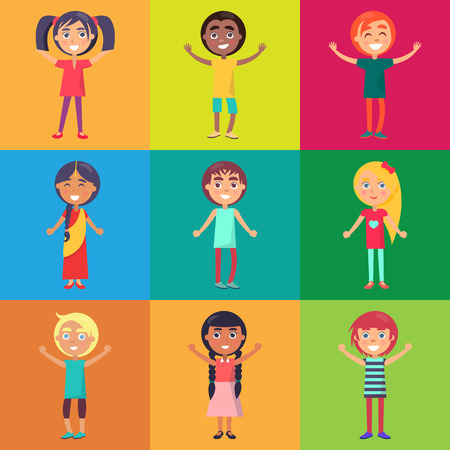 Active and happy kids from various countries moving on colorful background vector poster. Childhood celebrating time template 向量圖像