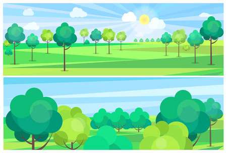 Picturesque scenery landscape with blue river and green trees growing on banks. Vector illustration of clean environment with nice weather Иллюстрация