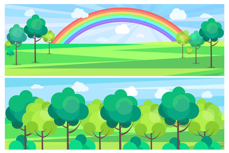 Picturesque scenery landscape with colorful rainbow Illusztráció
