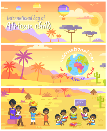 International Day of African Child set. Landscapes with palms and baobabs. Mother and children who share fruits and read books vector illustrations.