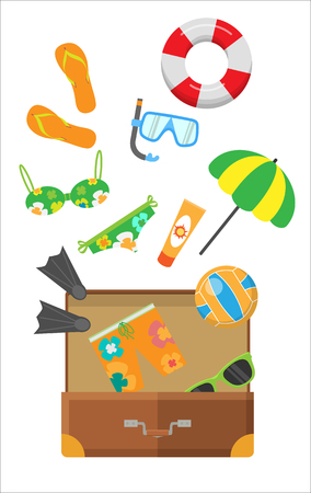 Summertime. Snorkel flippers mask ball cream umbrella trousers slippers lifebuoy and glasses in suitcase. Beach vacation banner. Travelling conceptual poster. Things necessary for rest. Vector
