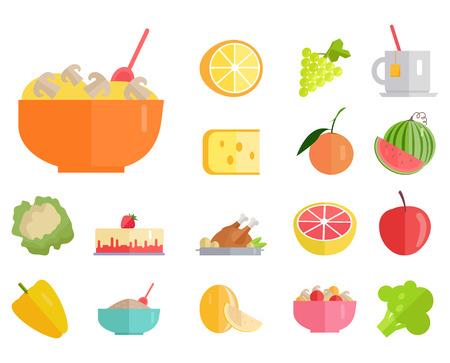 Heerlijke maaltijden, verse, sappige vruchten en gezonde biologische groenten cartoon vectorillustraties ingesteld op witte achtergrond.