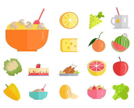 Delicious meals, fresh juicy fruits and healthy organic vegetables cartoon vector illustrations set on white background.