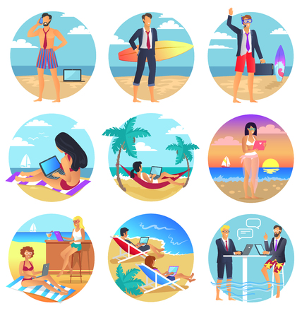 girl laptop: People who wear half office suits and half swimsuits work with modern devices on beach during vacation round vector illustrations set.