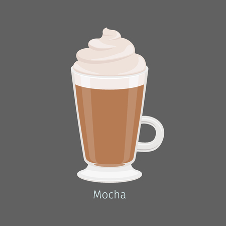 Irish mug with mocha flat vector. Hot invigorating drink with caffeine. Espresso based and chocolate flavored coffee with creamy foam on top illustration for coffee house and cafe menus design
