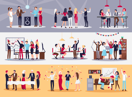 Corporate parties vector illustrations set. People drink alcohol, dance, throw confetti, chat with each other and celebrate successful work.