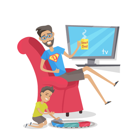 My dad is superhero vector banner. Flat design. Man resting in armchair with cup of hot drink in hand, his son playing railroad nearby. Leisure at home. Father day celebrating, Family values.