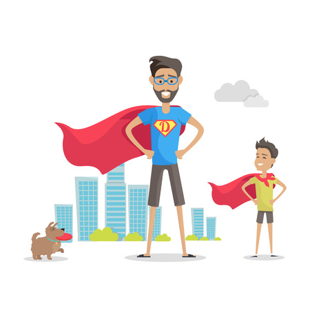 Father and his adorable son superheroes. Playing outdoors. Role model, greatest mentor. Part of series of fathers day celebration banners. Honoring dads. Fatherhood concept, paternal bonds. Vector