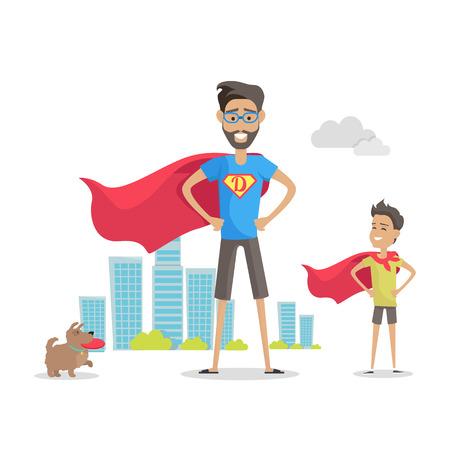 Vader en zijn schattige zoon superhelden. Buiten spelen. Rolmodel, grootste mentor. Een deel van reeks vaders banners van de dagviering. Vaders respecteren. Vaderschapconcept, vaderlijke banden. Vector